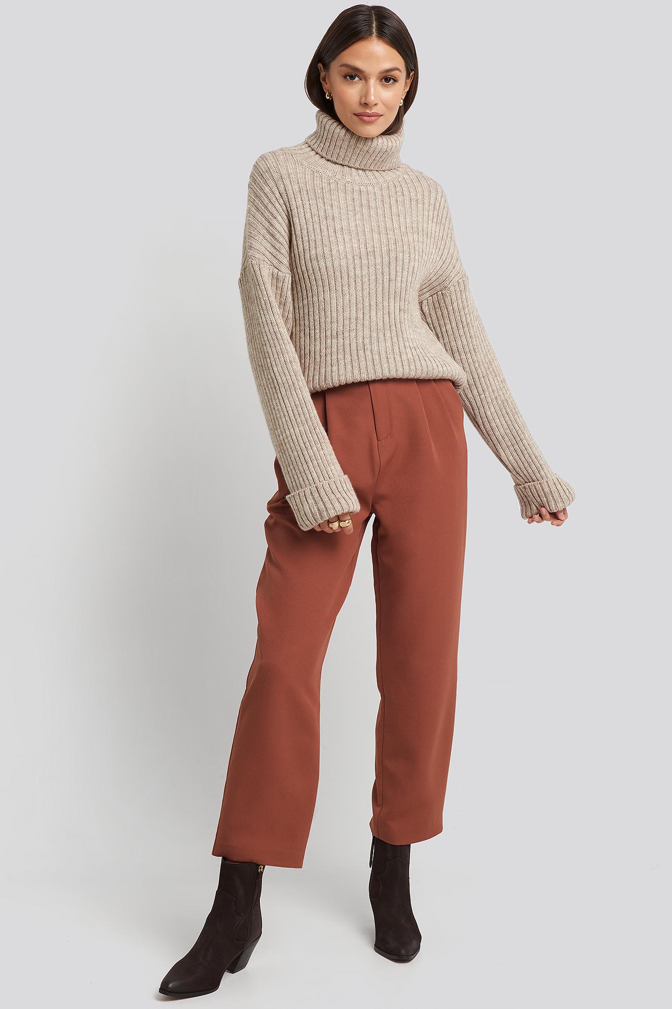 na-kd -  Belted Paperbag Tapered Pants - Brown,Orange