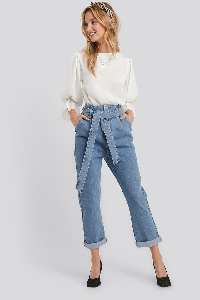 Belted Paperbag Turn Up Jeans Light Blue Wash