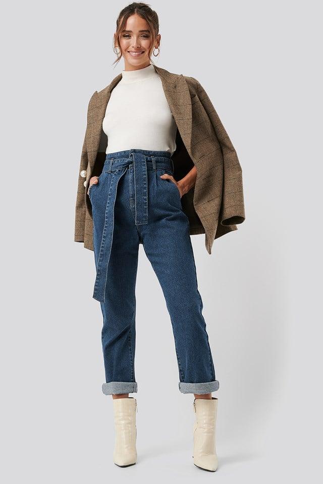 Belted Paperbag Turn Up Jeans Mid Blue Wash