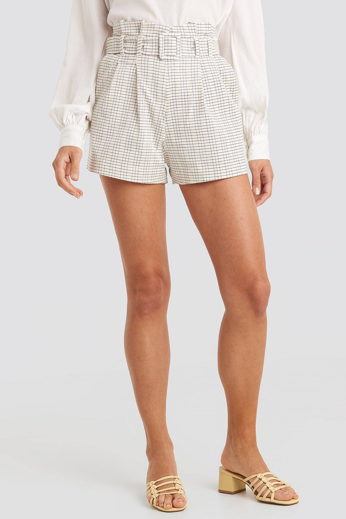 Check Belted Paperbag Waist Shorts
