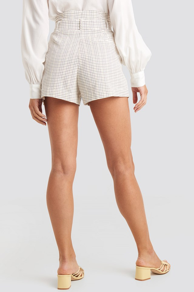 Belted Paperbag Waist Shorts Check