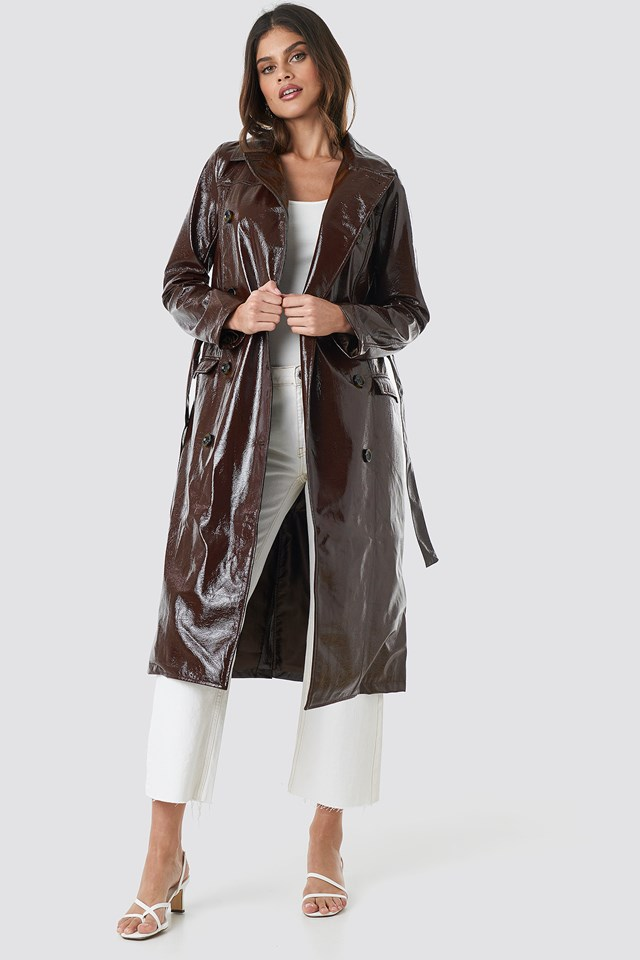 Belted Patent Jacket Dark Brown