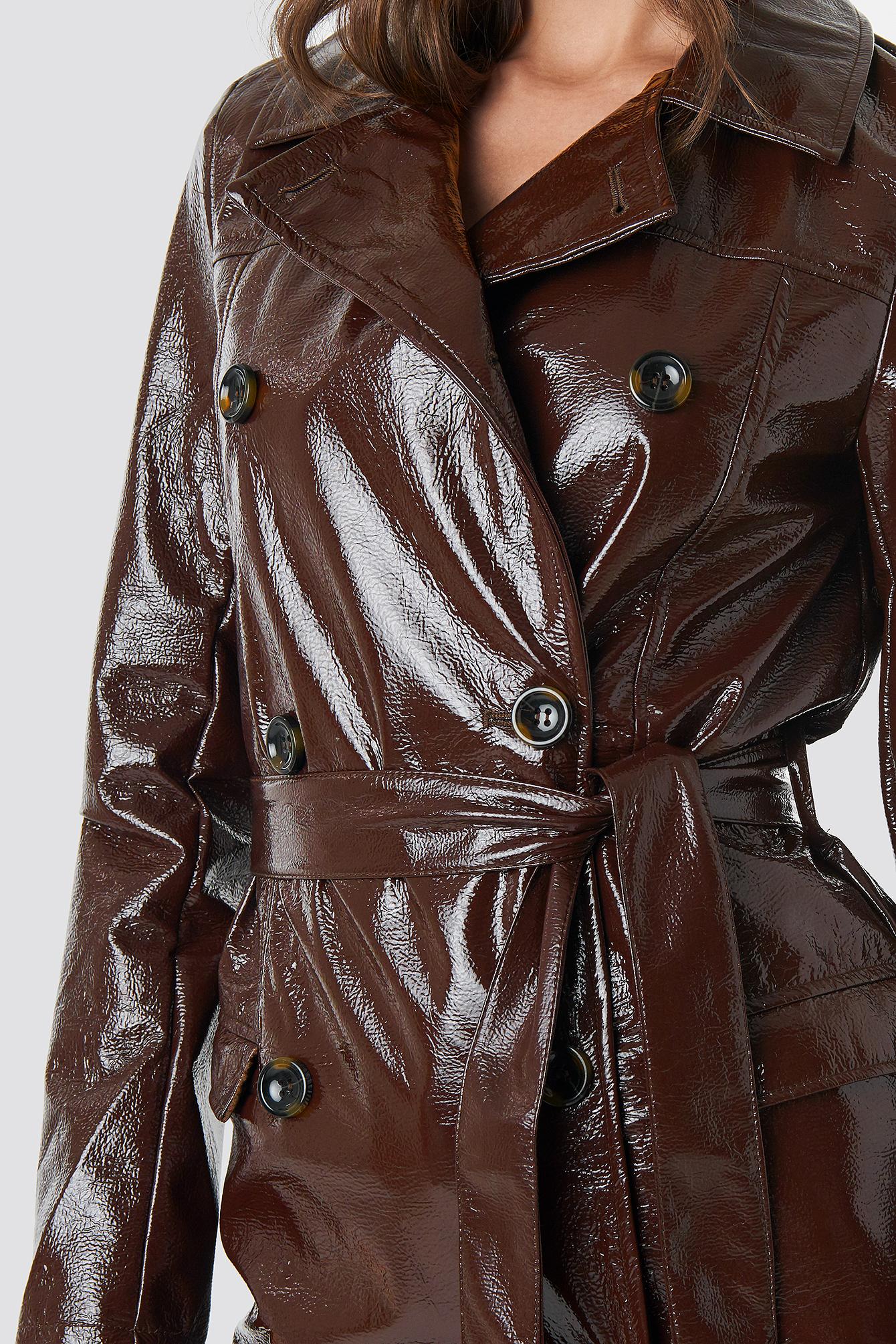 Belted Patent Jacket NA-KD.COM