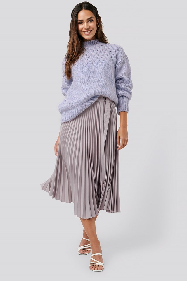 Belted Pleated Skirt Lilac