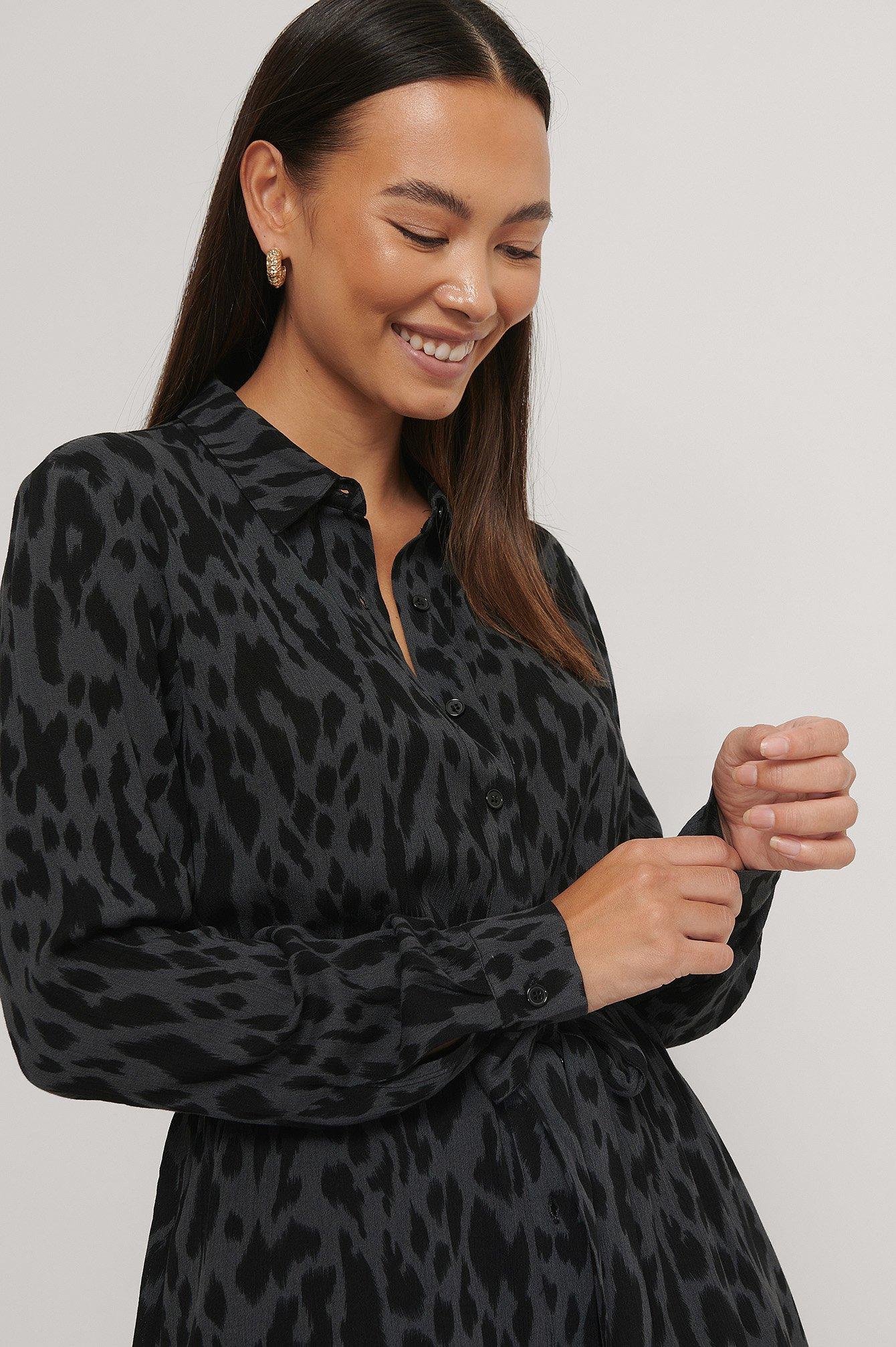 na-kd -  Bedrucktes Hemdkleid Mit Gürtel - Multicolor