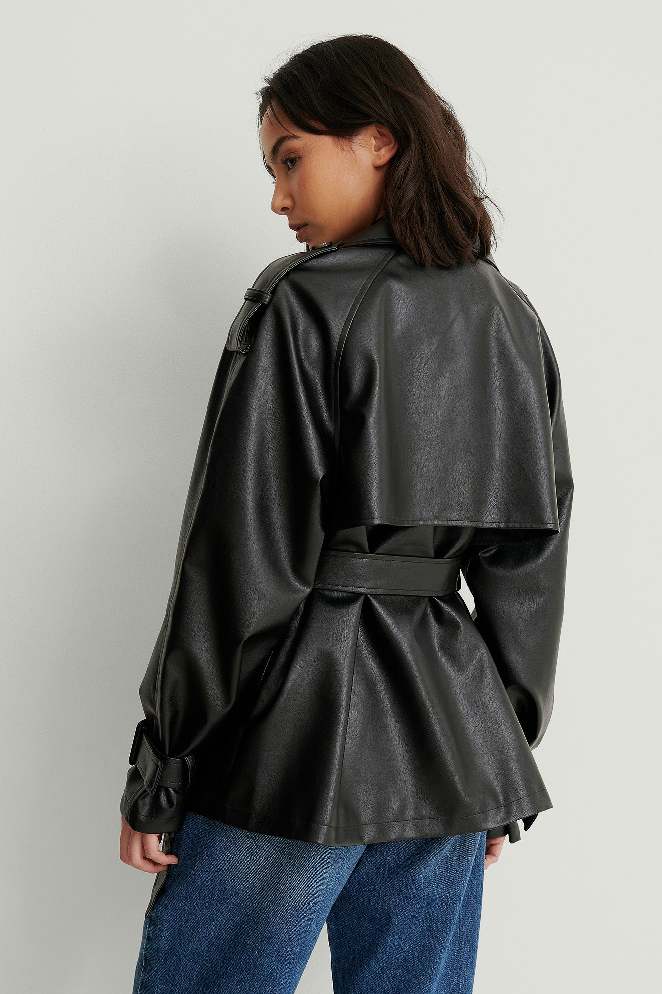 Black Belted PU Jacket