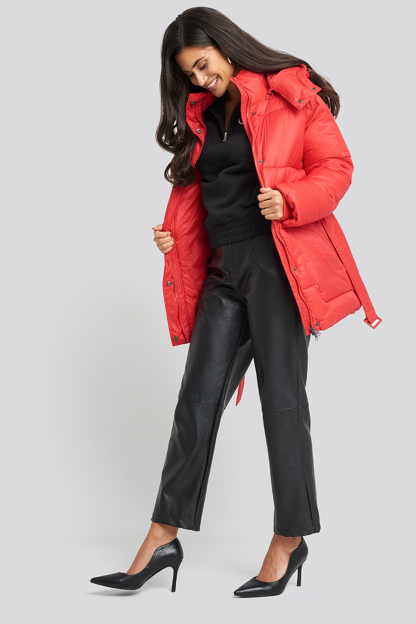 na-kd -  Belted Puff Jacket - Red