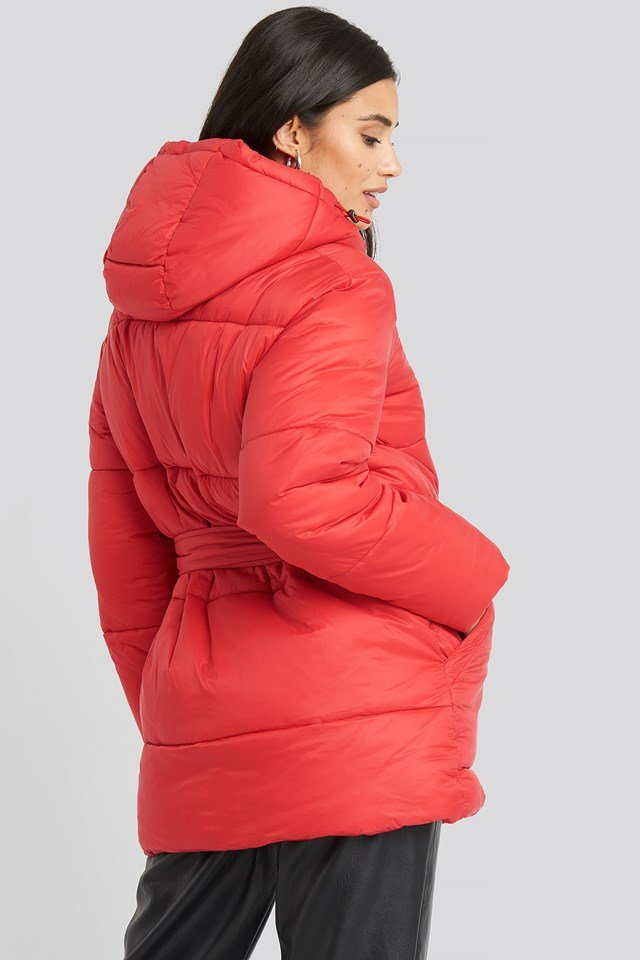 Belted Puff Jacket Red