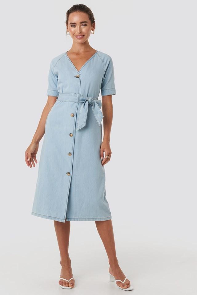 Belted Puff Sleeve Midi Dress Light Blue