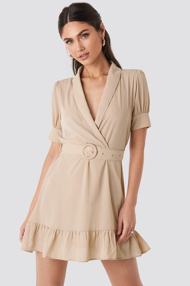 Belted Puff Sleeve Mini Dress Beige