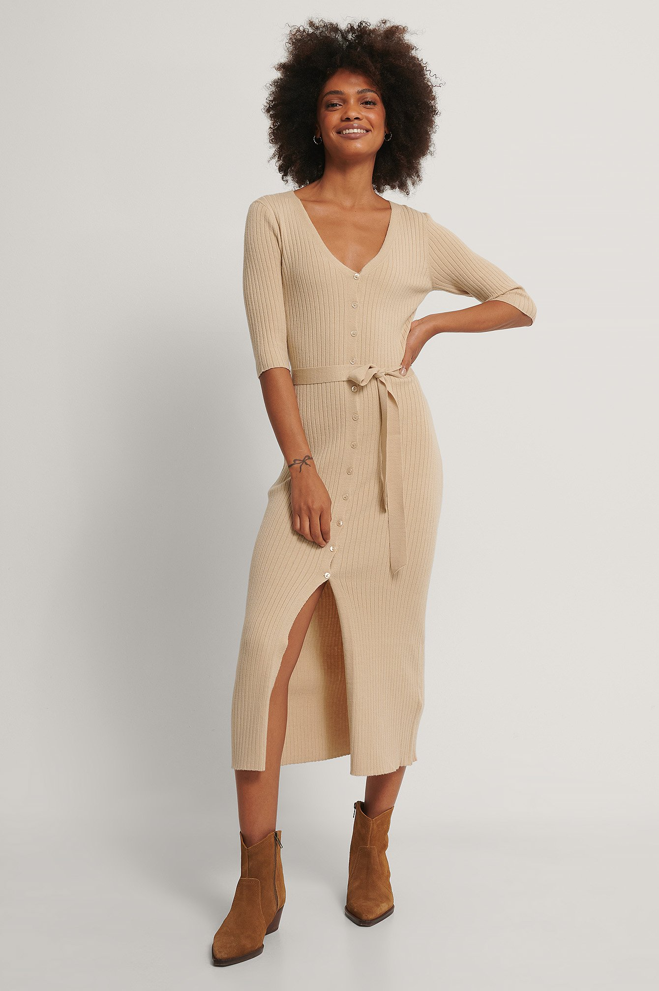 Beige Belted Ribbed Knitted Midi Dress