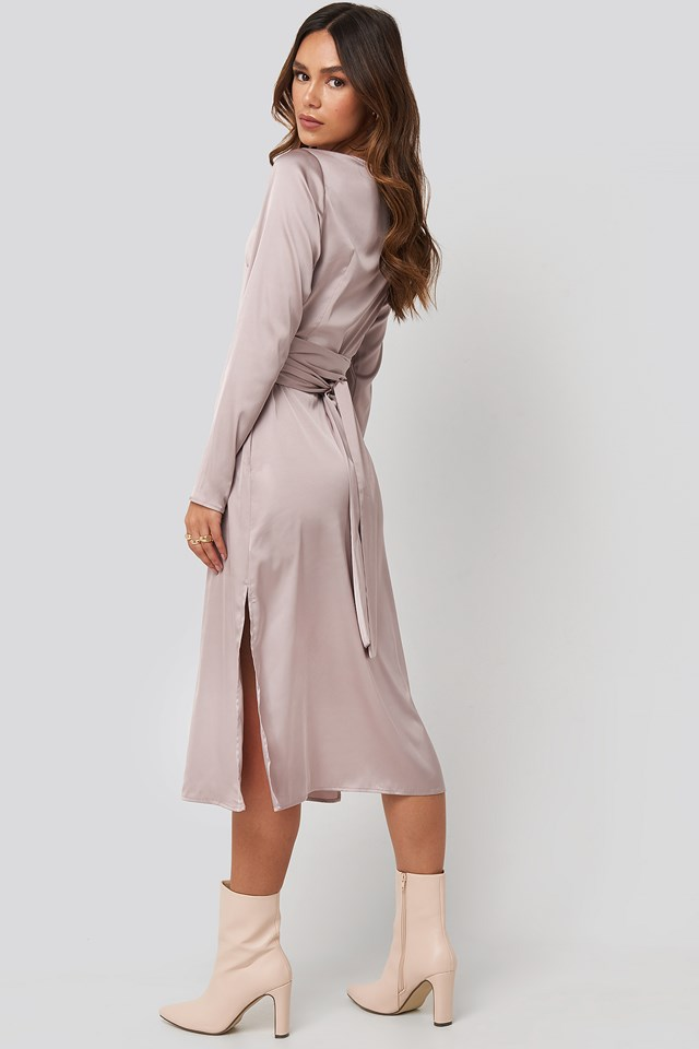 Belted Satin Midi Dress Dusty Pink