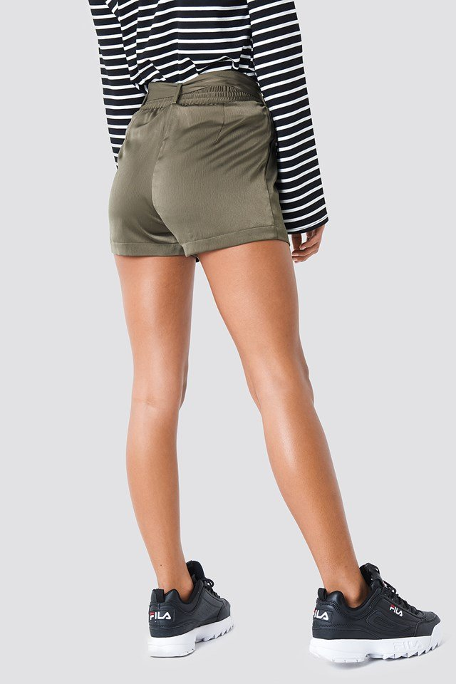 Belted Satin Shorts Olive Green