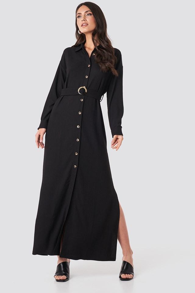 Belted Shirt Maxi Dress Deep Black