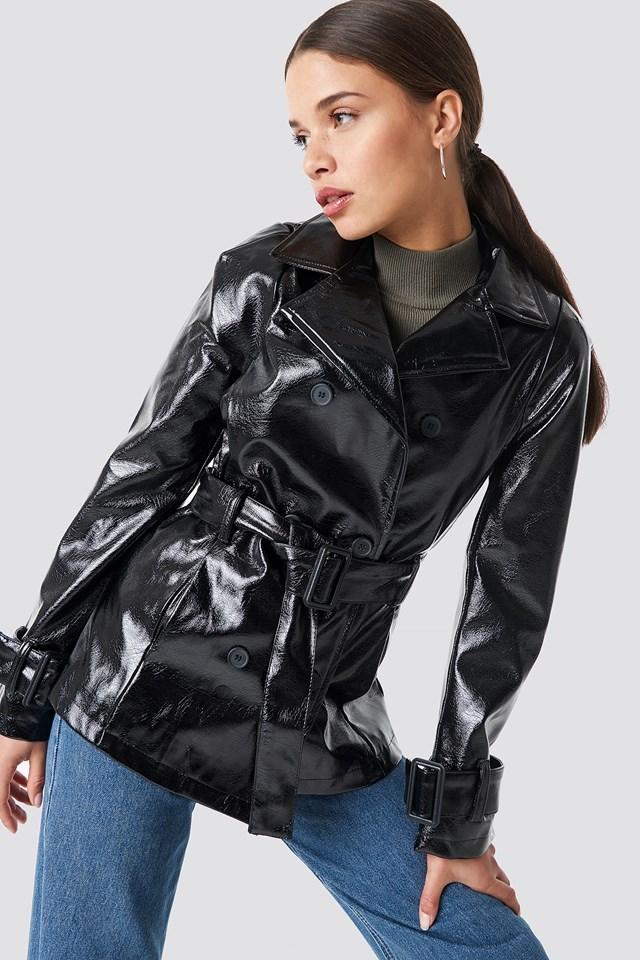 Belted Short PU Jacket NA-KD Trend