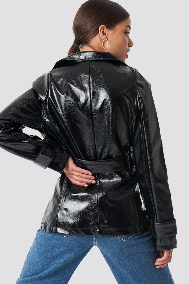 Belted Short PU Jacket Black