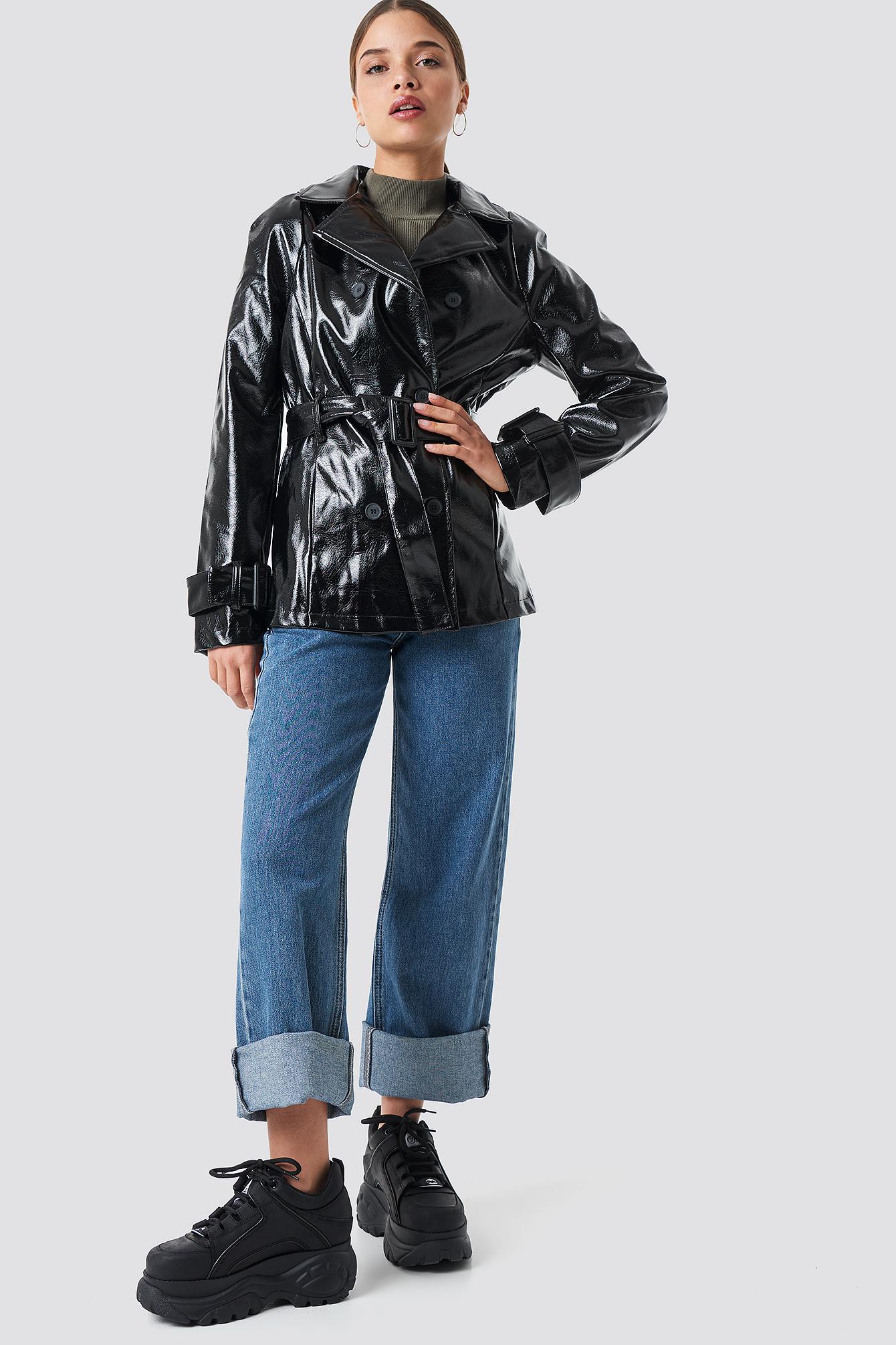 Belted Short PU Jacket NA-KD.COM