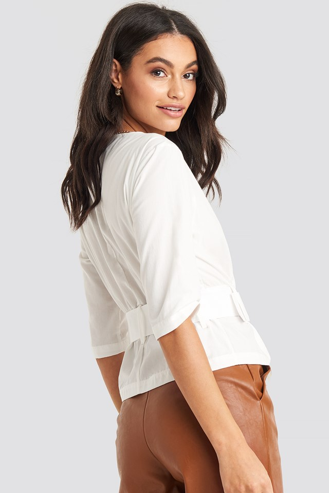 Belted Short Sleeve Blouse Off White