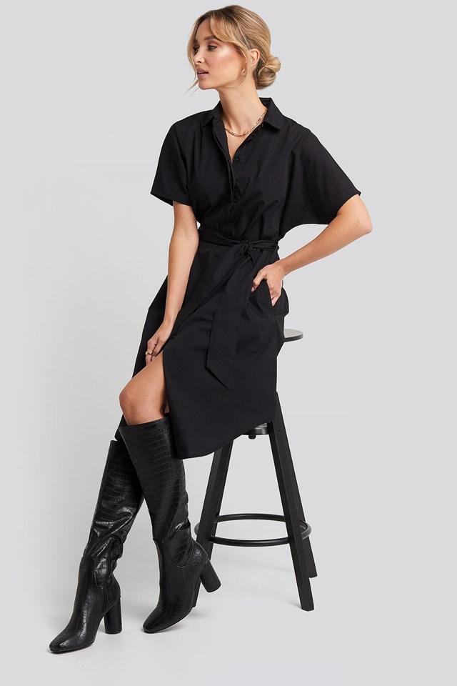 Belted Short Sleeve Shirt Dress Black