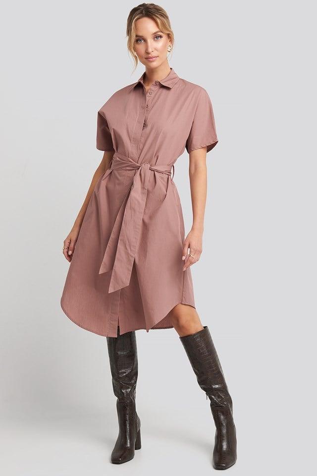 Belted Short Sleeve Shirt Dress Burlwood