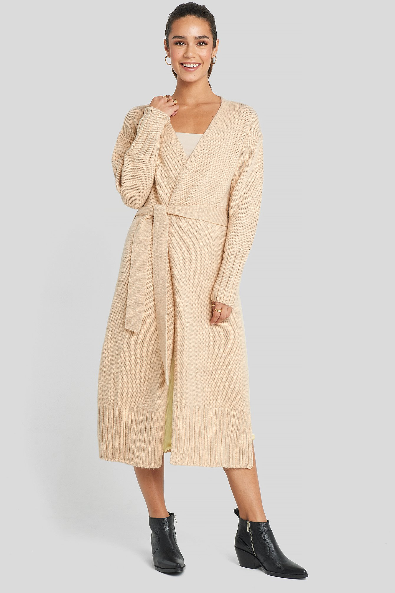 Belted Side Slits Long Cardigan Beige by Na Kd Trend