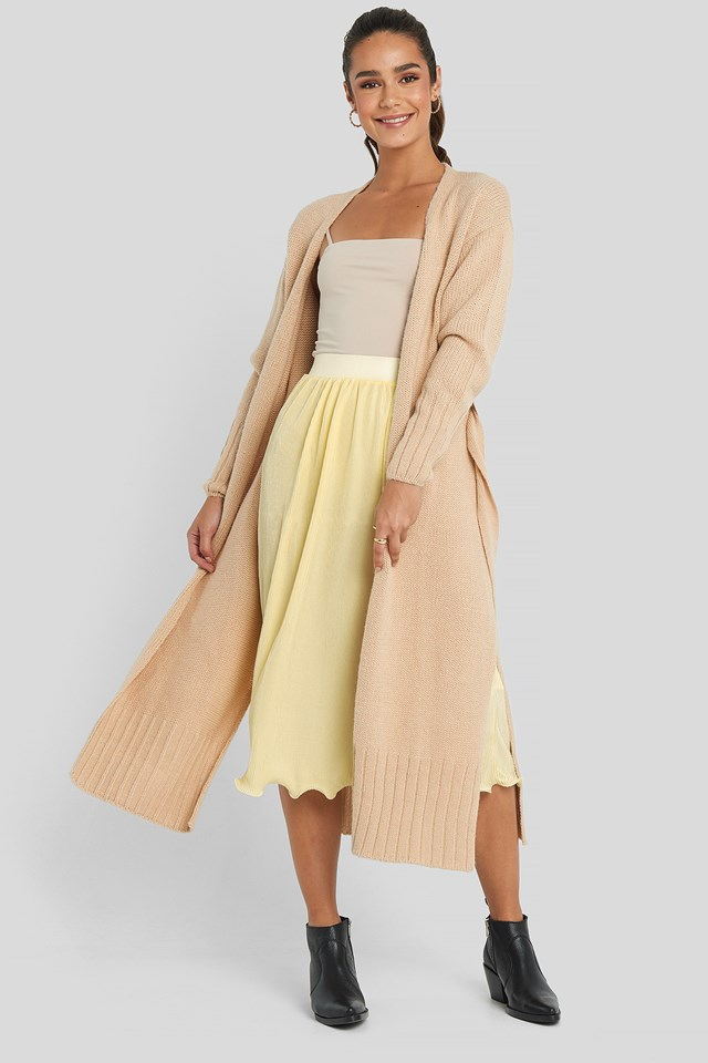 Belted Side Slits Long Cardigan Beige