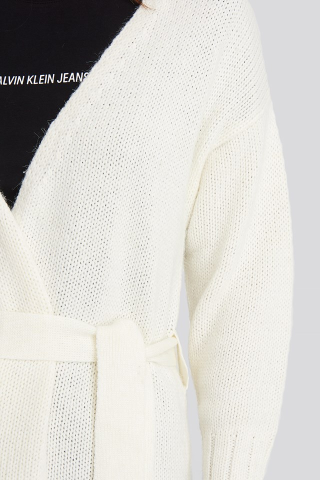 Belted Side Slits Long Cardigan Offwhite