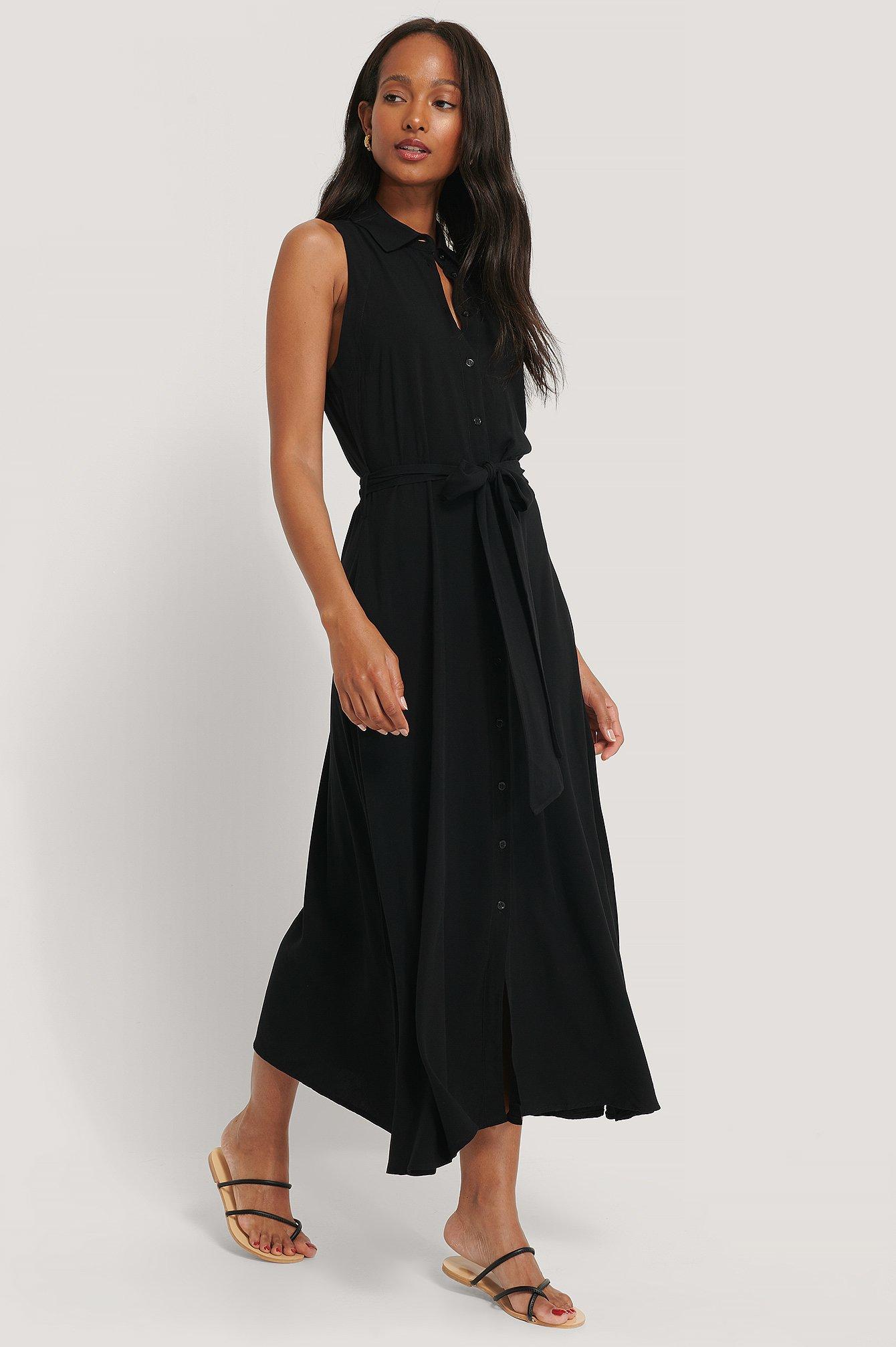 Ärmelloses Kleid Schwarz | na-kd.com