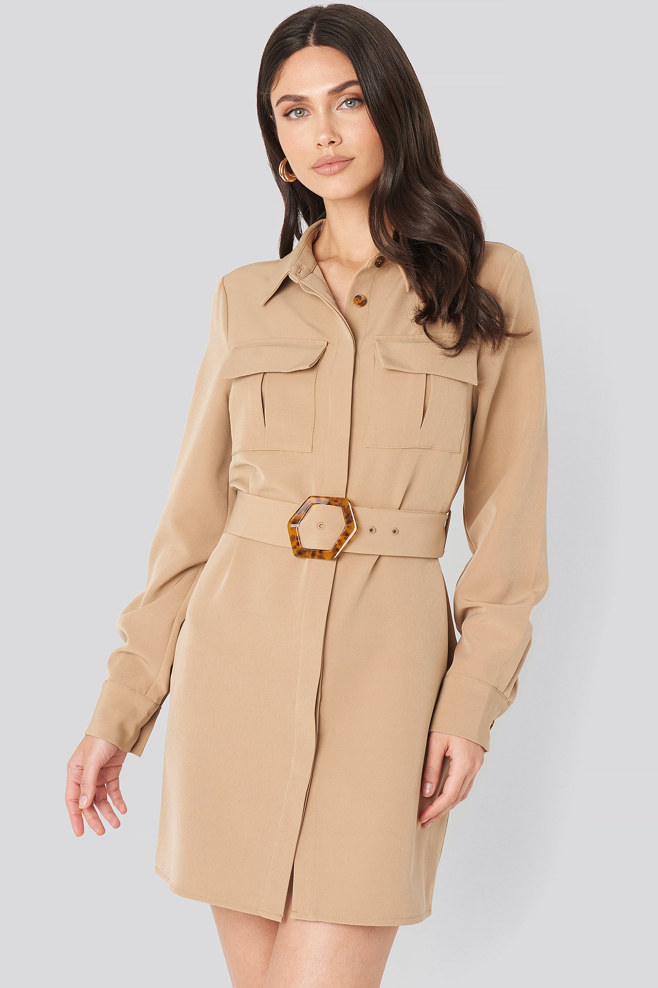 Belted Straight Fit Shirt Dress Beige by Na Kd Trend