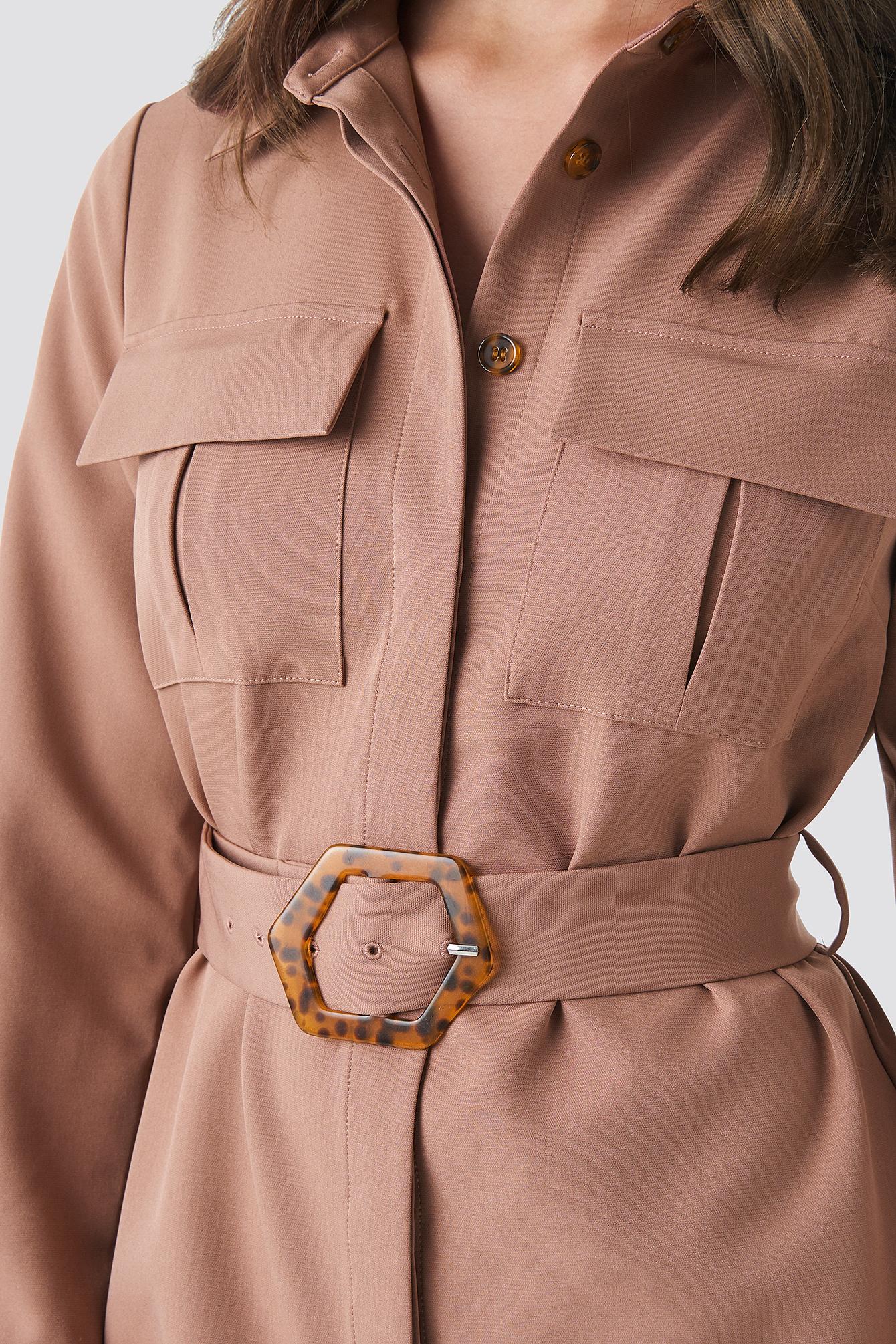 Belted Straight Fit Shirt Dress NA-KD.COM