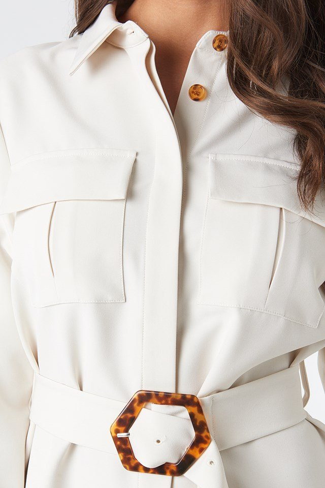 Belted Straight Fit Shirt Dress Cream