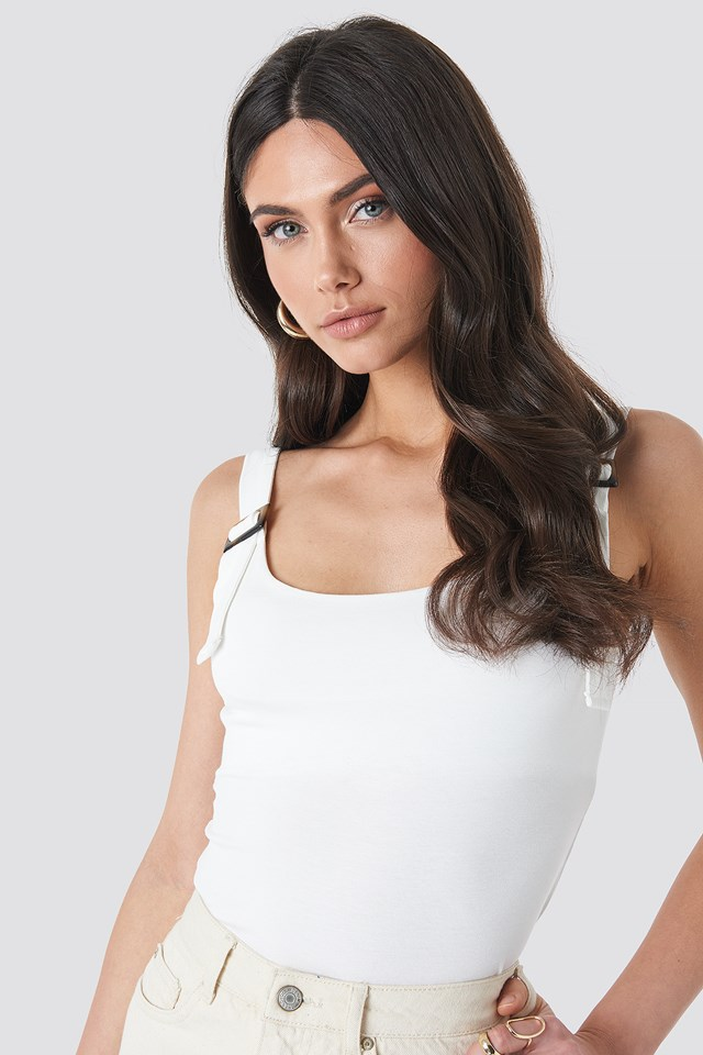 Belted Strap Tank Top Off White