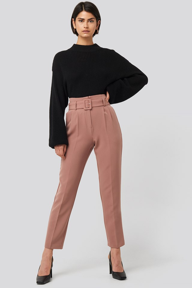 Belted Suit Pants Dusty Dark Pink
