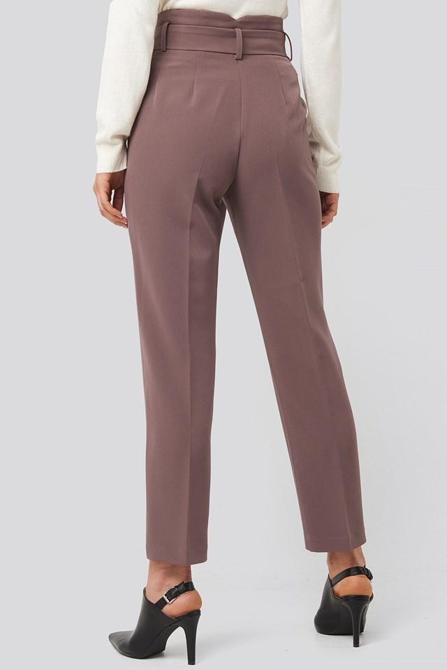Belted Suit Pants Dusty Dark Plum