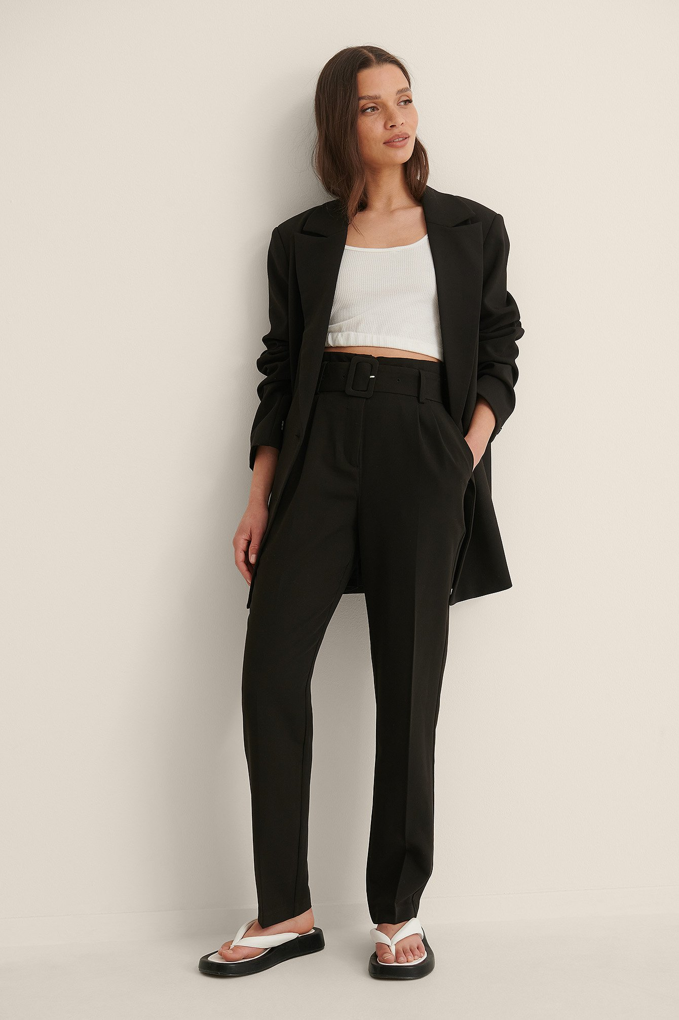 Black Belted Suit Pants