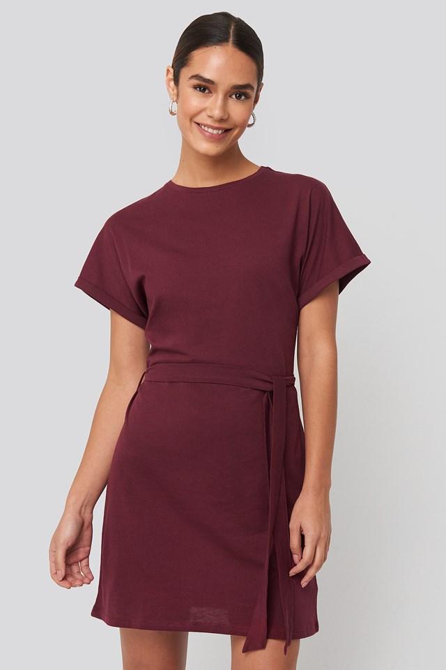 Belted T-shirt Dress Burgundy