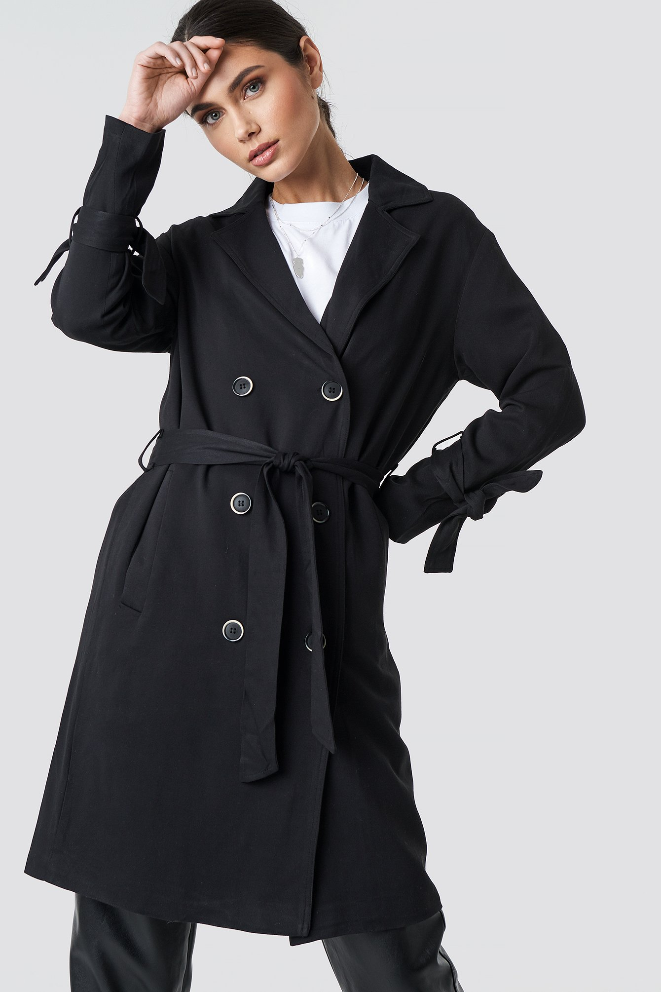 na-kd -  Belted Trench Coat - Black
