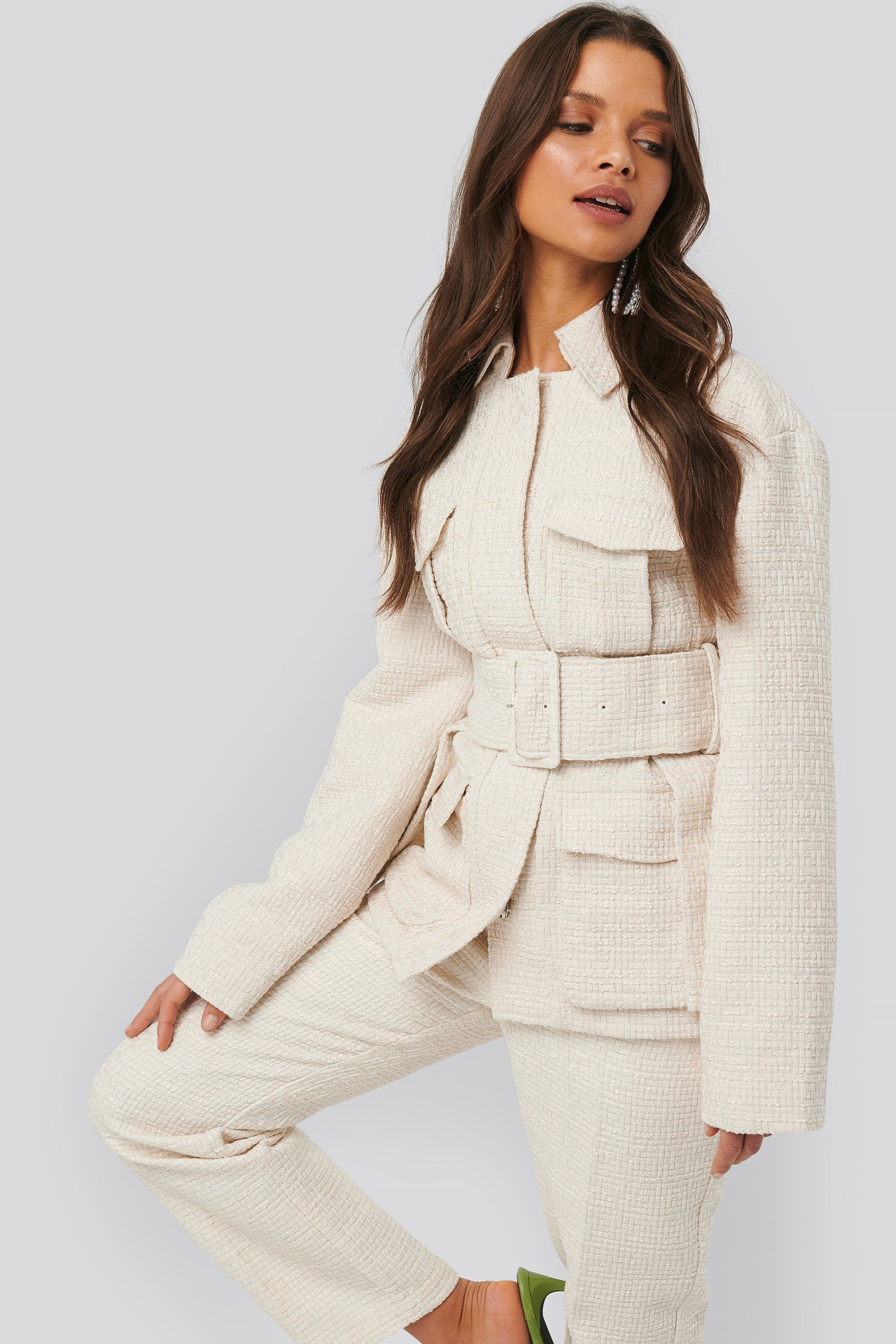 na-kd classic -  Belted Tweed Jacket - White