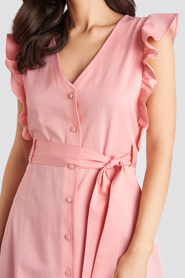 Belted V-Neck Ruffle Midi Dress Dusty Pink