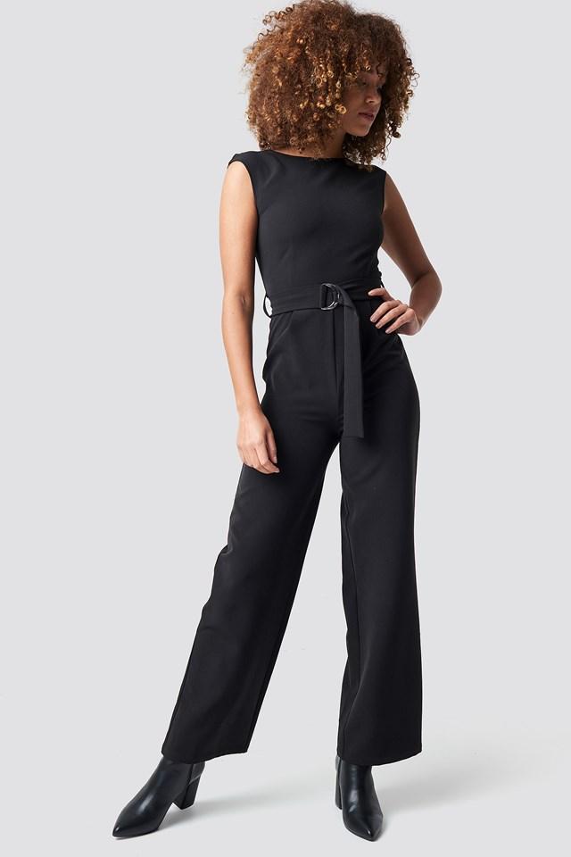 Belted Waist Jumpsuit Black