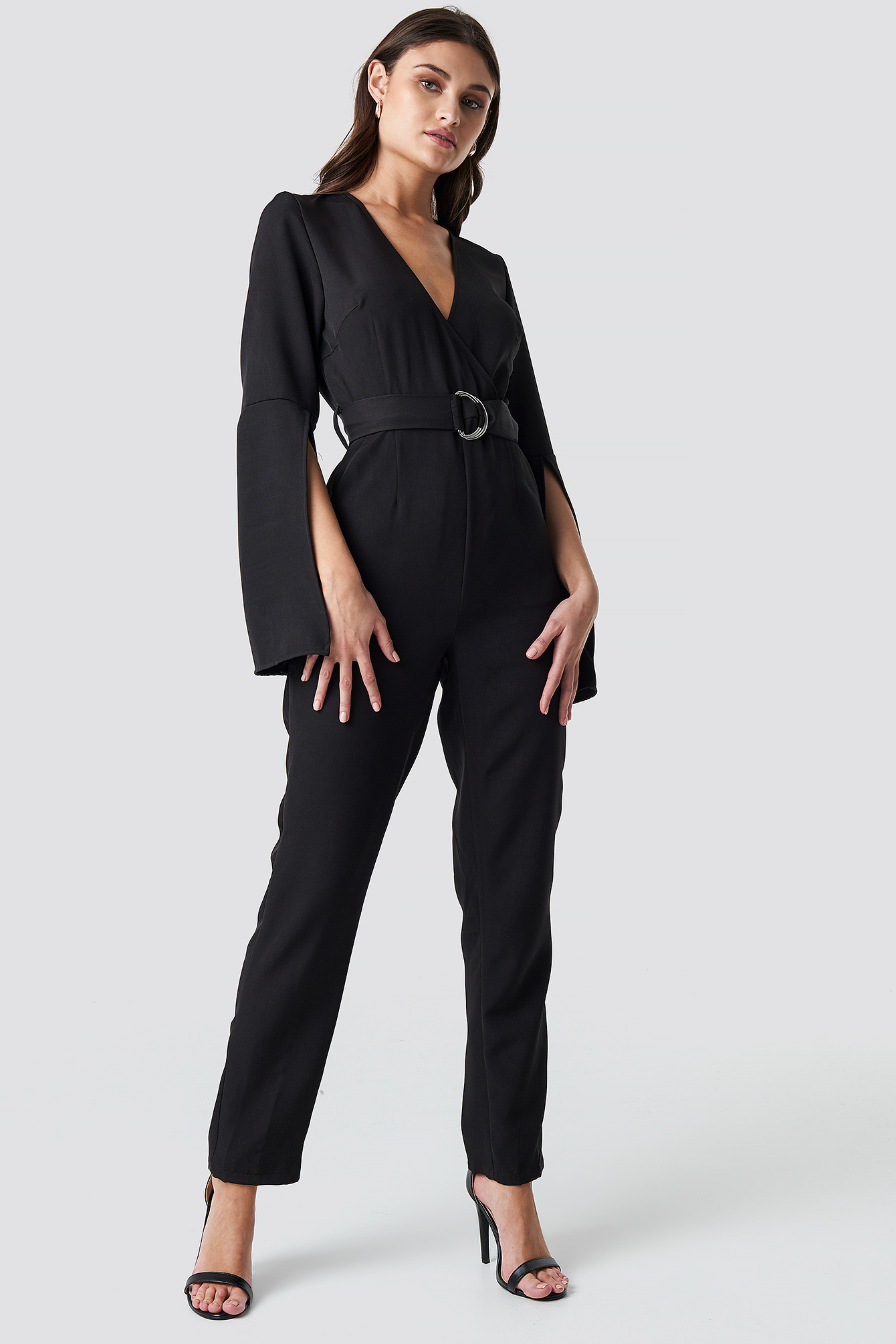 Belted Waist Open Sleeve Jumpsuit NA-KD.COM