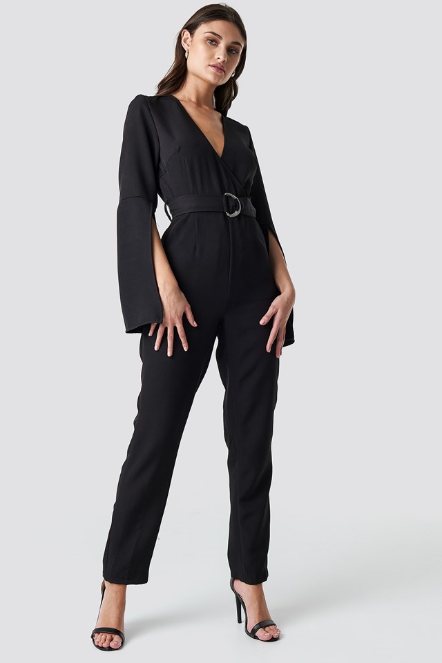 Belted Waist Open Sleeve Jumpsuit Black