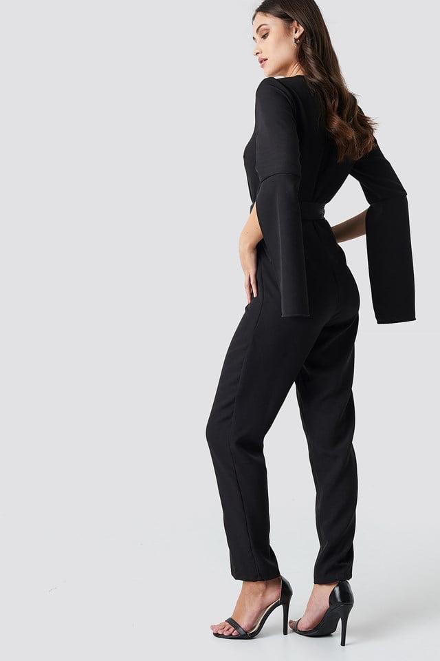 Belted Waist Open Sleeve Jumpsuit Black