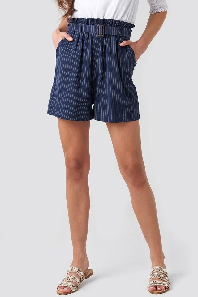 Belted Waist Striped Shorts Dark Blue