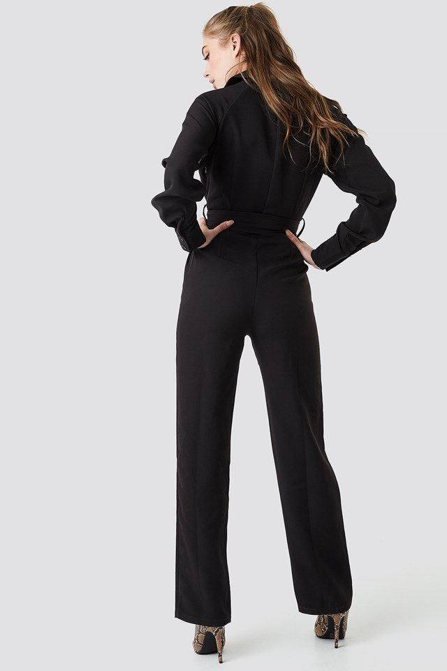 Belted Waist Collar Jumpsuit Black