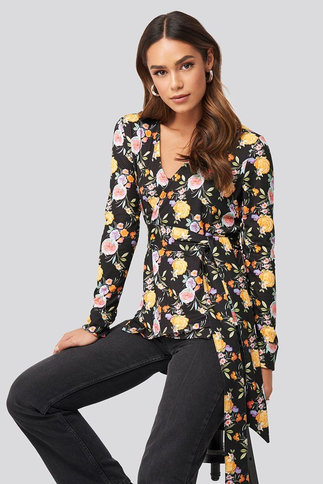 Belted Wrap Jersey Top Floral Print