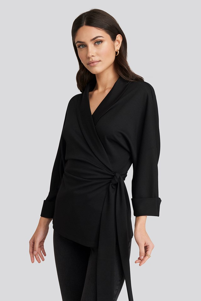 Belted Wrap Lounge Jacket Deep Black