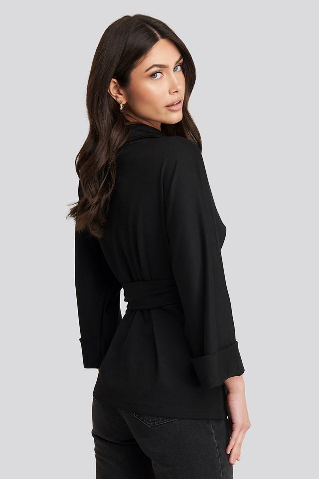 Belted Wrap Lounge Jacket Deep Black