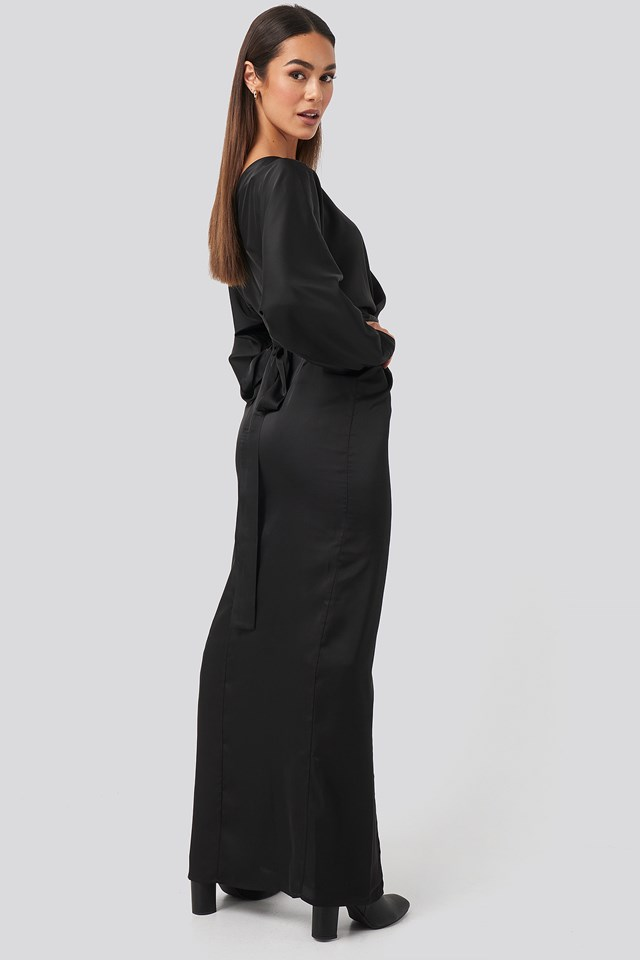 Belted Batwing Sleeve Maxi Dress Black