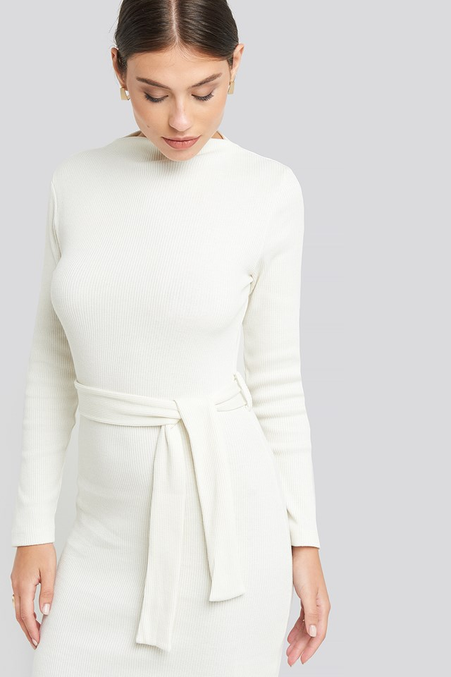 Belted Rib Knitted Dress White